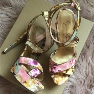 Jessica Simpson watercolor platform heels